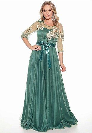 Vestido Longo Fasciniu's Verde Tule Bordado Moda Evangélica