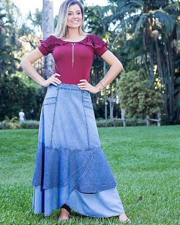 Saia Jeans Longa Plus Size Moda Evangelica Tipo Sol Da Terra