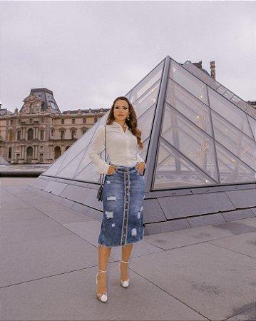 Saia Jeans Evangelica Midi Destroyed Desfiada Joyaly Moda