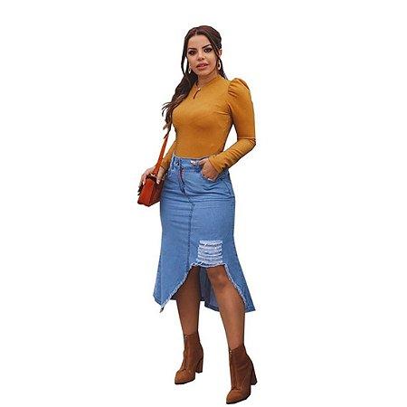 Saia Jeans Feminina Joyaly Moda Roupas Evangelicas