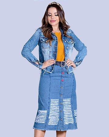 Conjunto Feminino Saia E Jaqueta Jeans Joyaly Evangelica