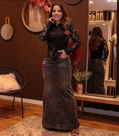 Saia jeans Longa Bordada Joyaly Moda Feminina Evangelica