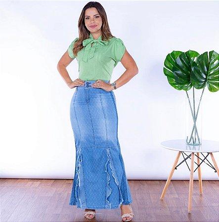 Saia Jeans Longa Feminina Evangelica Destroyed Joyaly