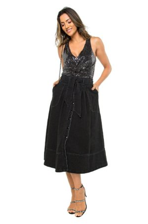 Saia Jeans Midi Feminina Black Rodada Botões Moda Evangélica