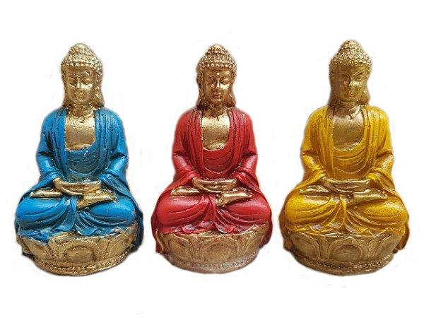 440796bb8d1d6 Kit Mini Budas Coloridos Azul Vermelho Amarelo Zen Decoração ...