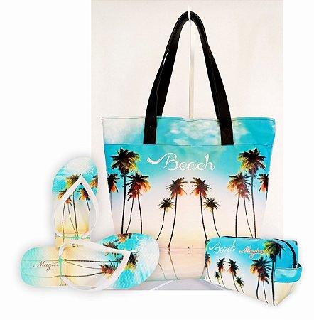Kit Feminino Praia com Céu Azul-Bolsa + Necessaire + Chinelo Antiderrapante - Magicc