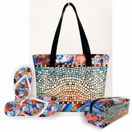 Kit Feminino Mosaico Colorido - Bolsa + Necessaire + Chinelo Antiderrapante