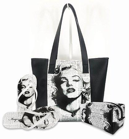 Kit Feminino Vintage Branco e Preto - Bolsa + Necessaire + Chinelo Antiderrapante