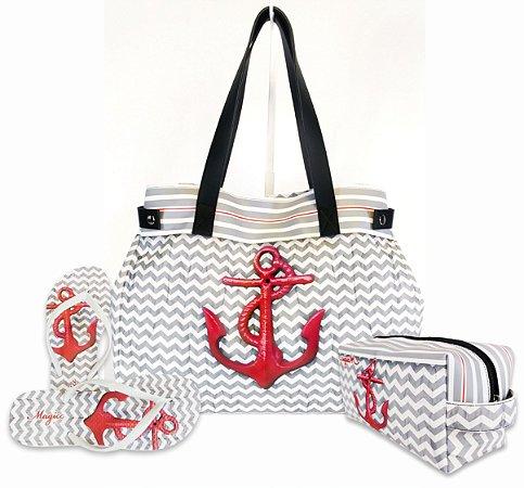 Kit Feminino - Bolsa + Necessaire + Chinelo na cor Cinza e Branca com Âncora Vermelha