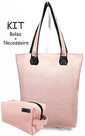 Kit Feminino - Bolsa + Necessaire na Cor Rosa com Flores em Alto Relevo