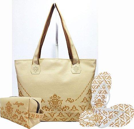 Kit Feminino Marfim com Arabesco Caramelo Bolsa + Necessaire + Chinelo Antiderrapante