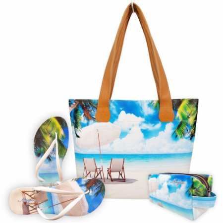 Kit Feminino Praia com Bolsa, Necessaire e Chinelo, Magicc