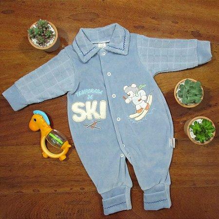 Macacão Longo Plush Azul Ursinho Ski
