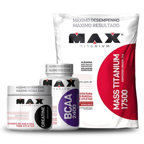 Combo Massa Max (Mass titanium 3kg + BCAA 60 caps + Creatina 100g) - Max Titanium