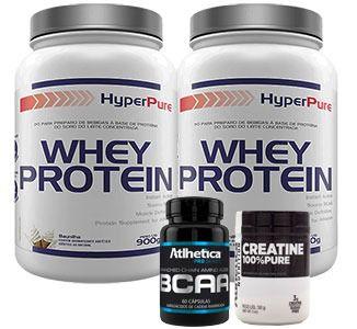 Kit Massa Completo c/ 2 Whey Protein + Creatina + BCAA