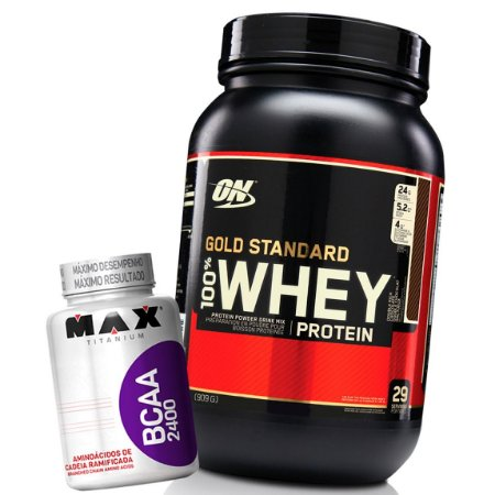 Whey Gold Standard Isolate 907g 2lbs - Optimum Nutrition + BCAA 100 caps Brinde