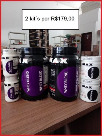 Kit Max Blend DUPLO (2 Whey + 2 BCAA 60 caps + 2 Creatinas)