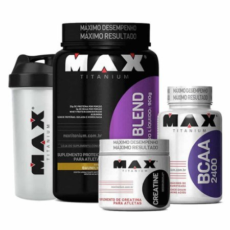 Kit Massa Blend Max (Whey + BCAA + Creatina + Coq)