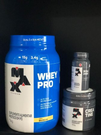 Combo Whey Max  1kg + Creatina 100g + BCAA 60 Caps - Max Titanium