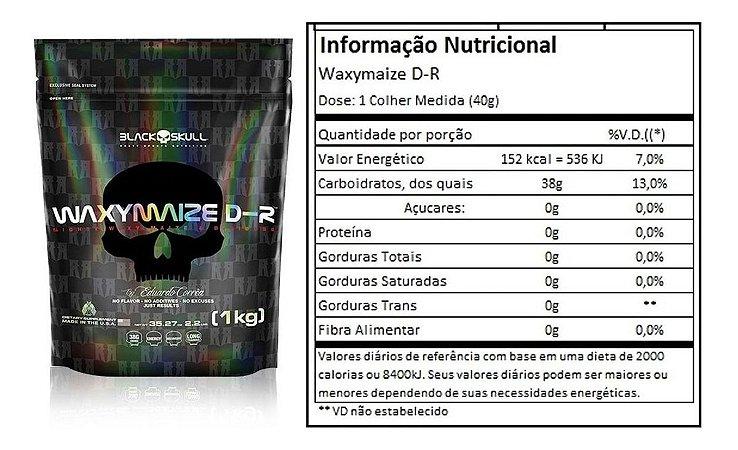 Waxy Maize D Ribose 1kg  Refil Sem sabor - Black Skull USA
