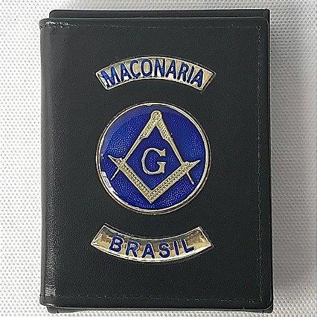 Carteira e Porta Documentos em Couro Maçonaria Brasil