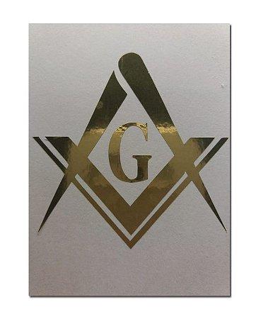 Adesivo Esquadro e Compasso com G Dourado