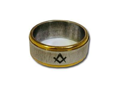 Aliança Esquadro Compasso - Fio Dourado