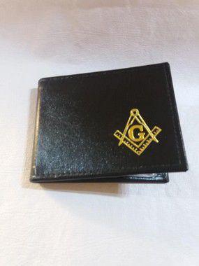 Carteira em couro com logo Esquadro e Compasso em dourado