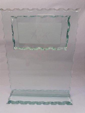 Mimo em vidro jateado esquadro e compasso