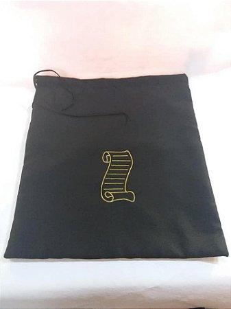 Bolsa preta bordado pergaminho