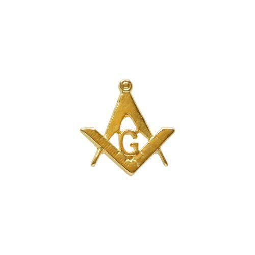Pin Esquadro e Compasso Vazado liso dourado