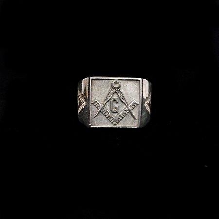 Anel Esquadro e Compasso Olho de horus - Prata Maçica -