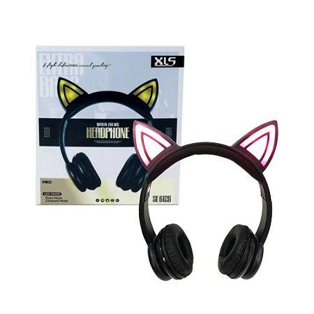 Fone Ouvido Orelha De Gato Led Headphone Com Fio Se 6126