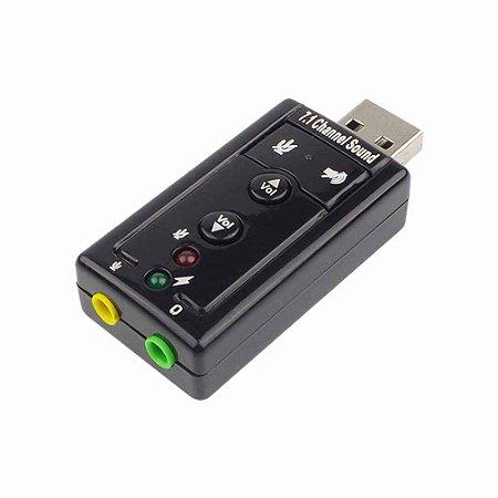 Placa De Som USB 7.1 Channel Sound - Código 539