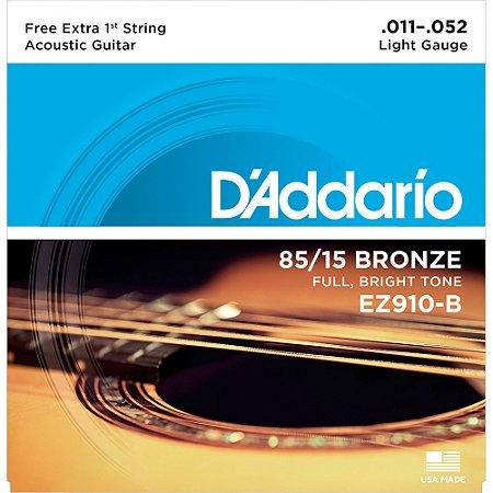 Encordoamento para Violão Cordas Aço 011 Bronze Daddario Ez910B Light