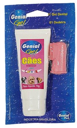 Kit Gel dental e Dedeira para Cachorro