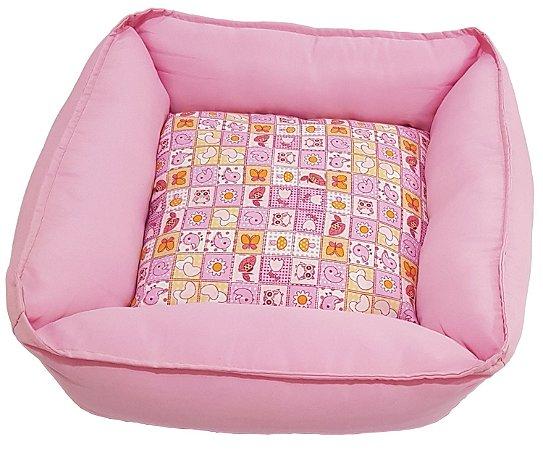 Cama Pet Soft Quadrada Rosa 50cm x 50cm