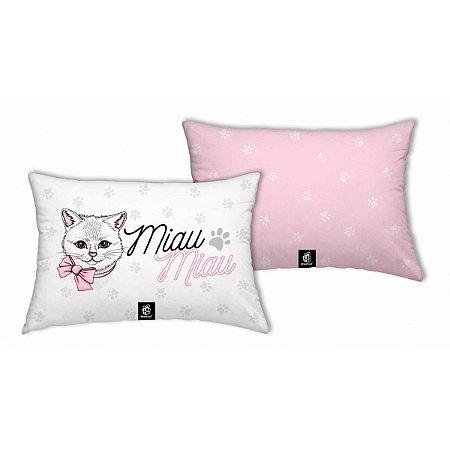 Almofada Gatinha Miau Retangular Pequena Rosa