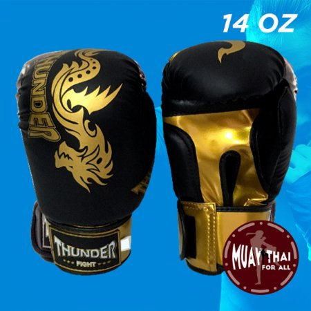 3c197d2b8 Luva Boxe Muay Thai Thunder Pu 14oz Dourado preto - Muaythai For All