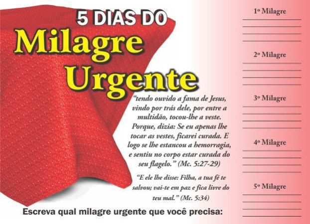 Cartela 5 dias do Milagre Urgente - 50 un