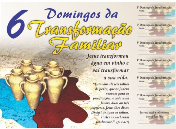 Cartela 6 Domingos da Transformação Familiar - 50 un