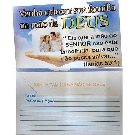 Envelope Venha colocar sua família na mão de Deus - 100 un