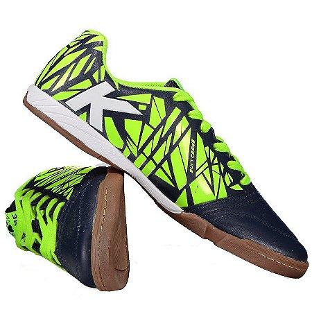 Tênis de Futsal Kelme Subito - Preto e Neon