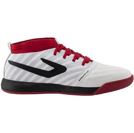 Tenis de Futsal Topper Dominator Knit Pro Branco / Preto / Vermelho