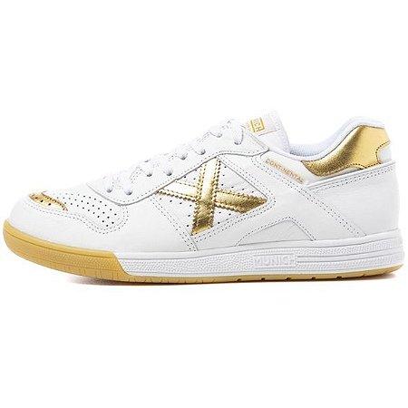 Tênis de Futsal Munich Continental - Branco / Dourado