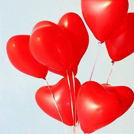 Kit com 10 unidades de balões látex em formato de coração N6