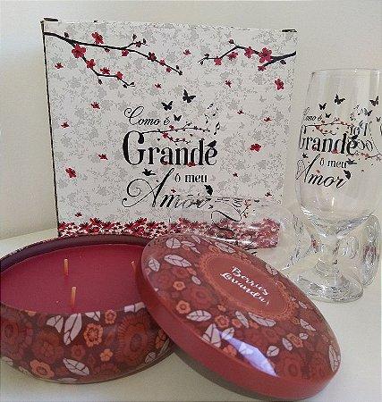 Kit Presente Vela decorativa com aroma de Lavanda + Taça