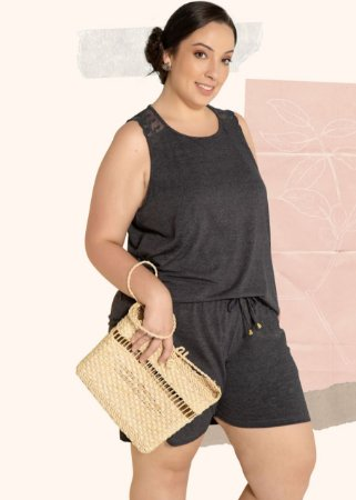 SHORT DOLL MESCLA GLAMOUR PLUS SIZE