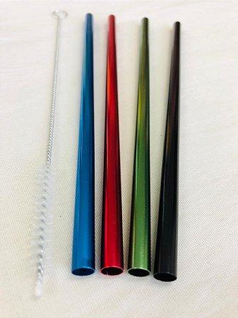Kit Aquarela 4 canudos 8mm (MilkShake) + Escova Higienizadora