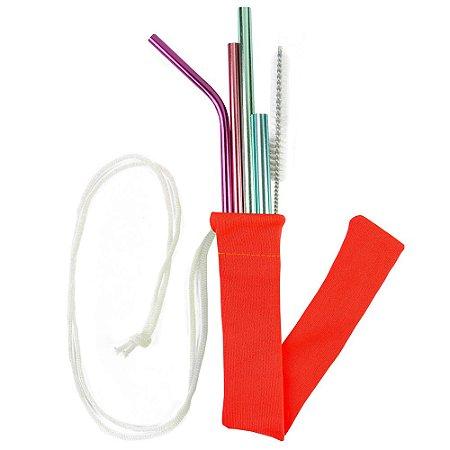 Kit Todos em Um Candy Color 4 canudos + Case + Escova Higienizadora